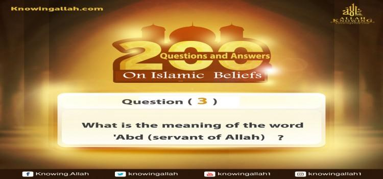 Q 3: What does the word `Abd (worshipper) mean?