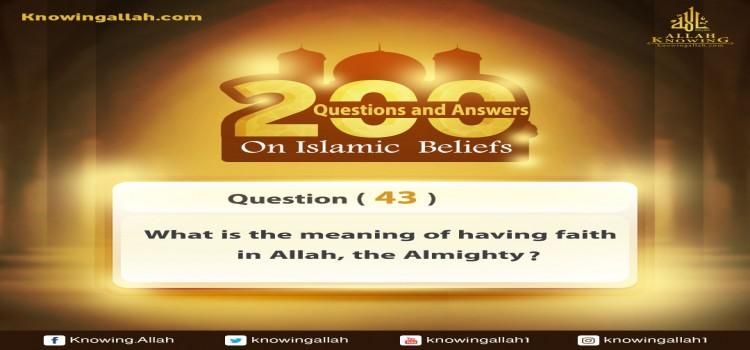 Q 43: What does having faith in Allah Almighty mean?